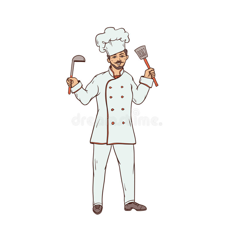 Męski szef kuchni restauracja w jednolitym, białym kapeluszu z i Pracownik sfera społeczeństwo ilustracja wektor
