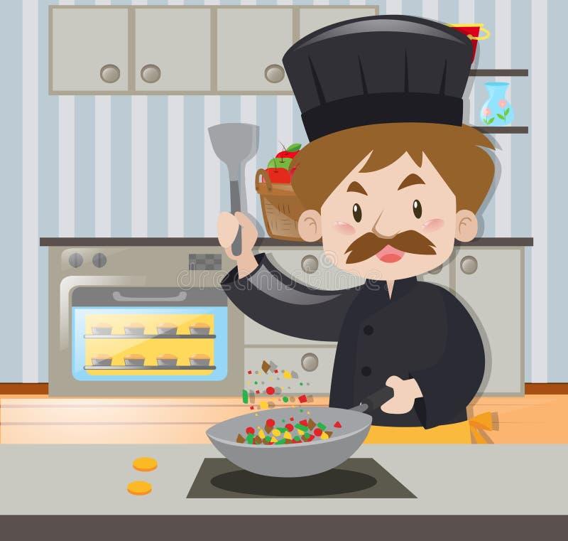 Męski szef kuchni w czarnym stroju kucharstwie royalty ilustracja