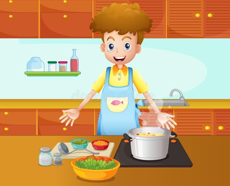Męski szefa kuchni kucharstwo w kuchni royalty ilustracja