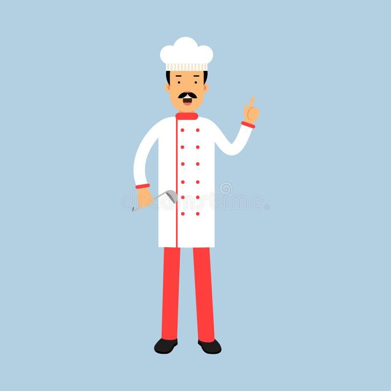 Męski szefa kuchni kucharza charakter w jednolitej pozyci z kopyści i seans ręki gestem z nastroszoną palec wskazujący ilustracją royalty ilustracja