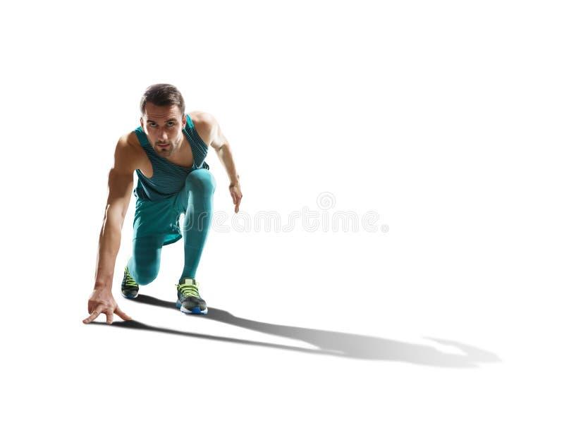 Męski szybkobiegacza bieg na odosobnionym tle zdjęcie royalty free