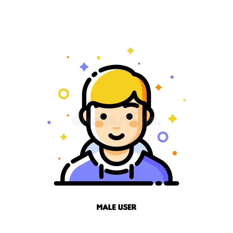 Męski użytkownika avatar Ikona śliczna chłopiec twarz Mieszkanie wypełniający kontur royalty ilustracja