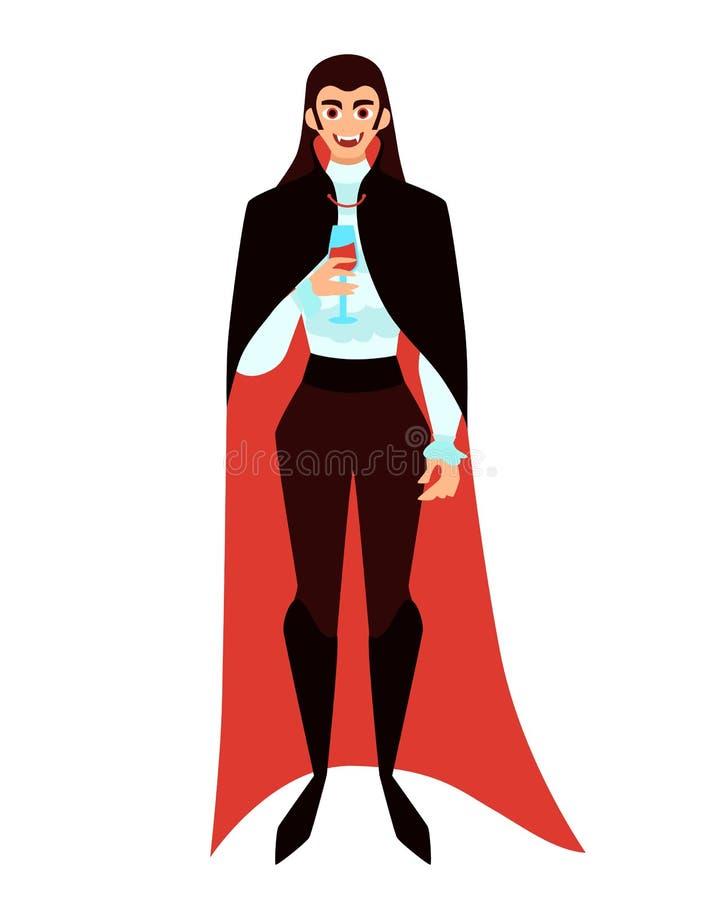 Męski wampir z szkłem ilustracja wektor