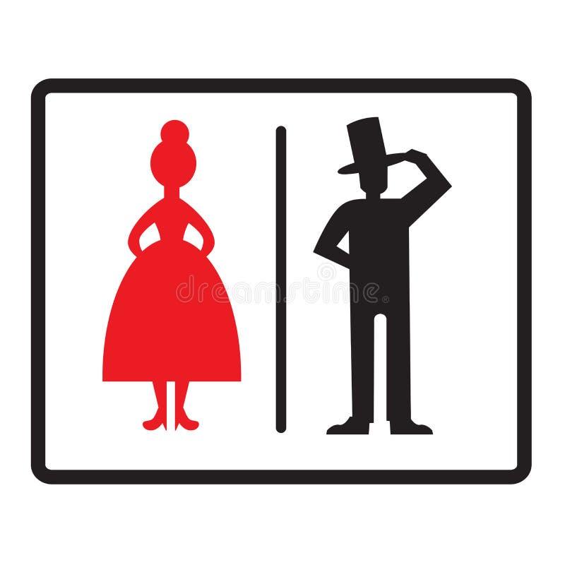 Męskie i Żeńskie ikony Odizolowywać na Białym tle Eleganccy toalety WC znaki również zwrócić corel ilustracji wektora ilustracja wektor