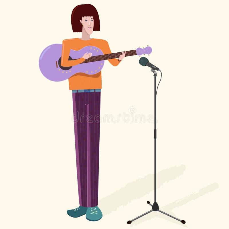 Męskiego charakteru młody muzyk z gitarą i mikrofonem Płaska wektorowa ilustracja royalty ilustracja