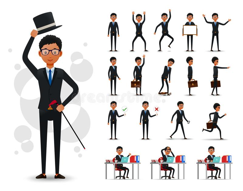 Męskiego czarnego afrykanina biznesmena 2D charakter Przygotowywający Używać Ustalonego Jest ubranym kostium royalty ilustracja