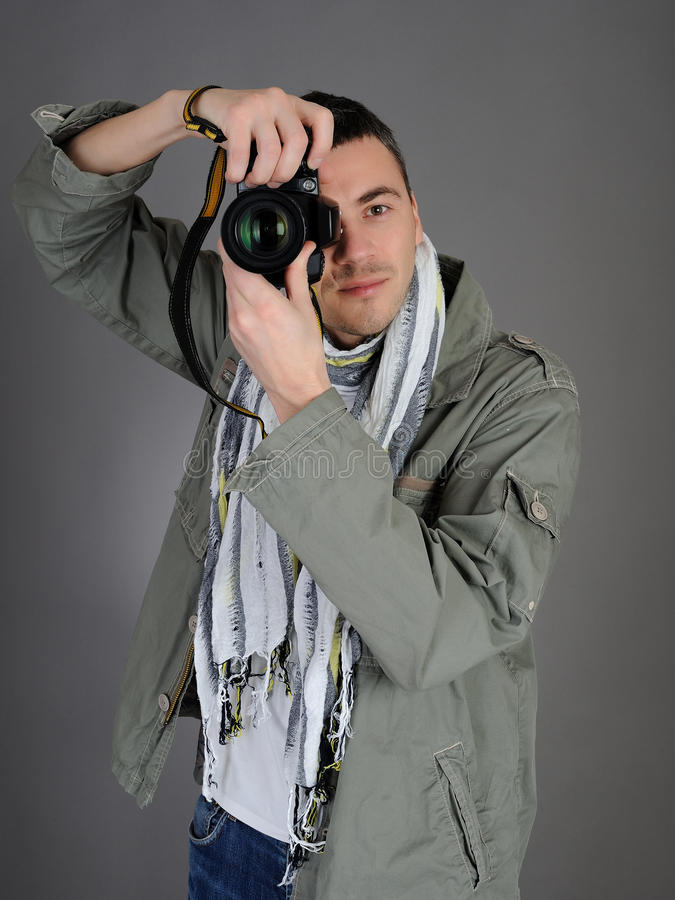 męskiego fotografa obrazka fachowy zabranie obrazy stock
