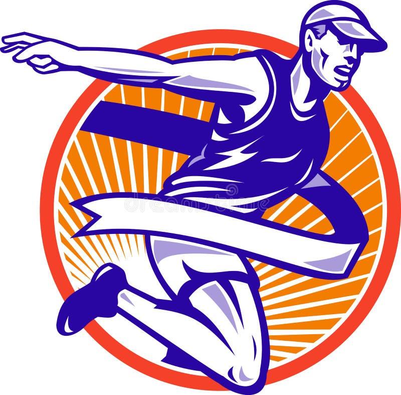 męskiego maratonu retro biegacza bieg ilustracji