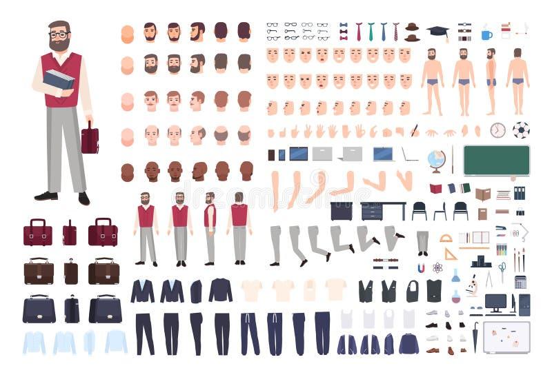 Męskiego nauczyciela konstruktor lub DIY zestaw Kolekcja nauczanie profesora ` s części ciała, ręka gesty, odziewać odizolowywam  ilustracji