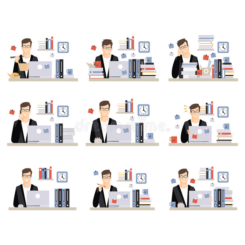 Męskiego urzędnika pracy Dzienne sceny Z Różnymi emocjami, set ilustracje Ruchliwie dzień Przy biurem ilustracji