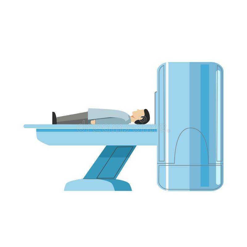Męskiej osoby lying on the beach na MRI maszynie odizolowywającej na bielu royalty ilustracja