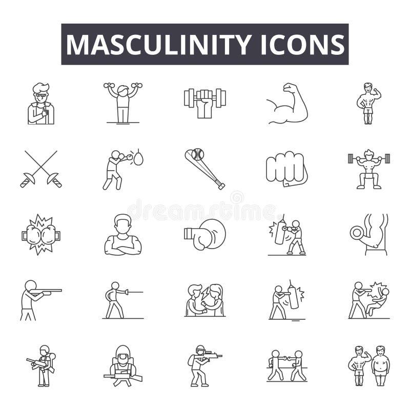 Męskość kreskowe ikony, znaki, wektoru set, kontur ilustracji pojęcie ilustracja wektor