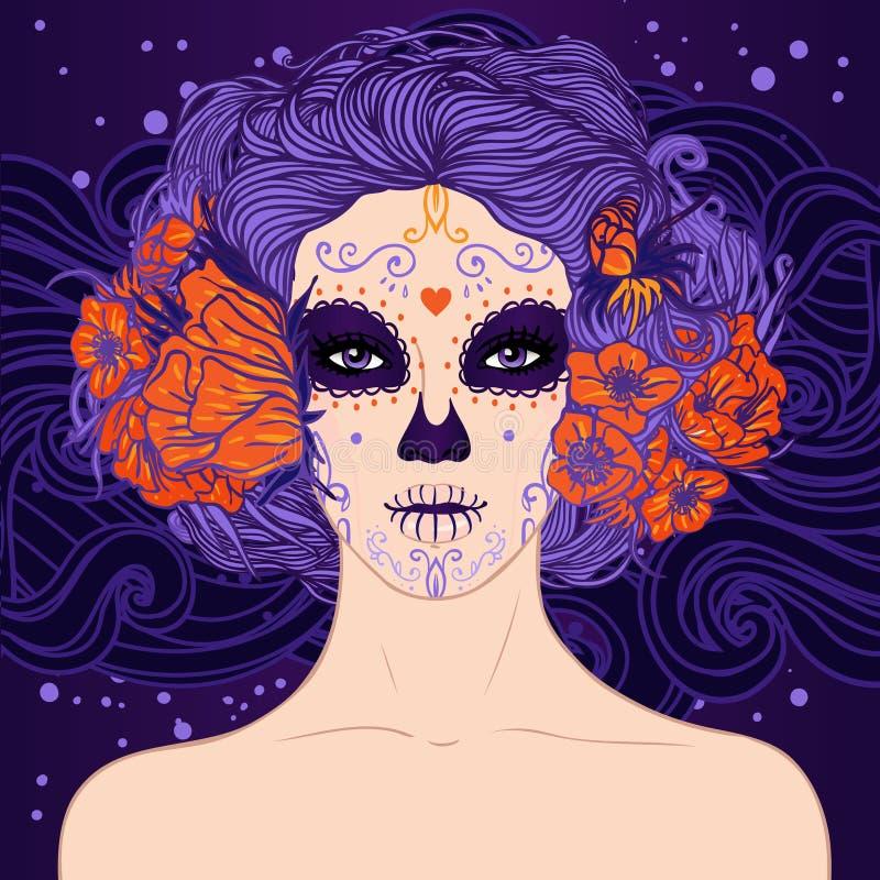 Młoda ładna Meksykańska Cukrowa czaszki dziewczyna