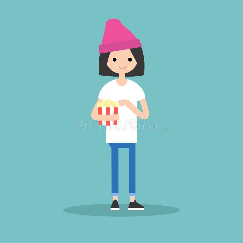 Młoda śliczna dziewczyna żuć popkorn/folował długość charakteru Mieszkanie ve ilustracja wektor