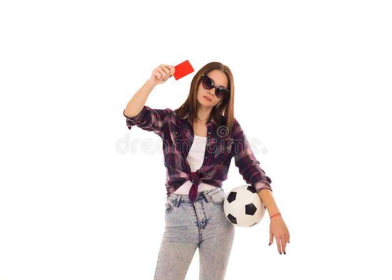 Młoda śliczna dziewczyna z piłki nożnej piłką, zdjęcie royalty free