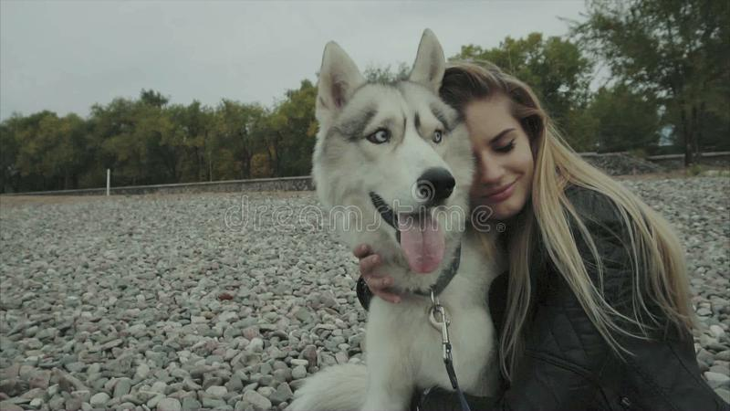 Młoda śliczna kobieta z siberian husky psa obsiadaniem na seaboard zdjęcie wideo