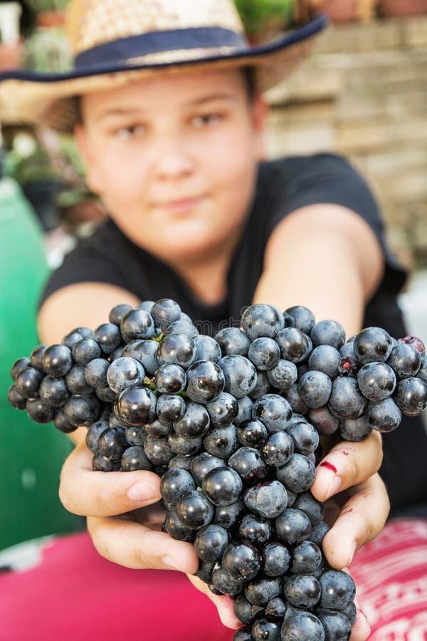 Młoda śmieszna chłopiec pozuje z wiązką winogrona w rękach, rocznika th fotografia royalty free