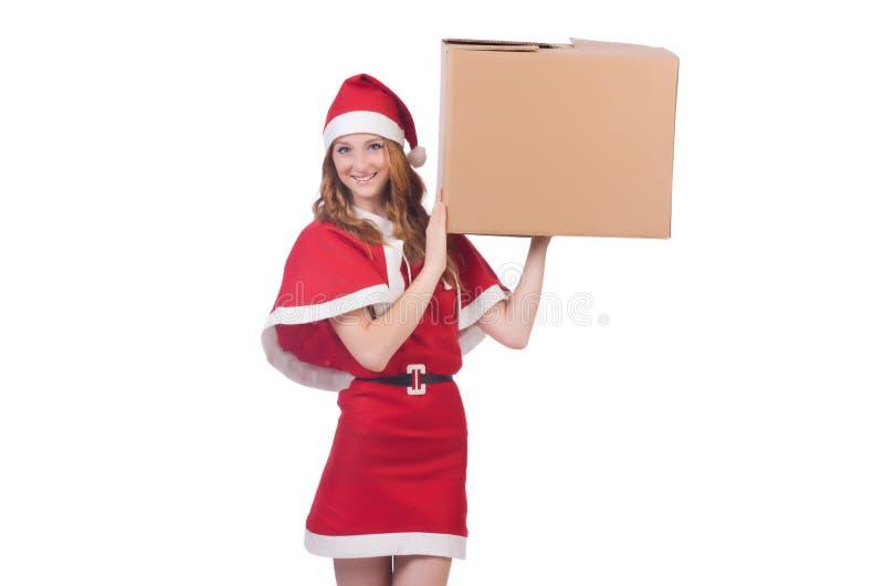 Młoda śnieżna dziewczyna z pudełkiem zdjęcia stock
