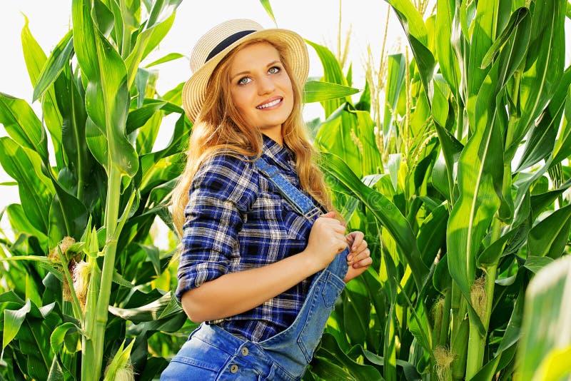 Młoda średniorolna dziewczyna na kukurydzanym polu zdjęcia royalty free