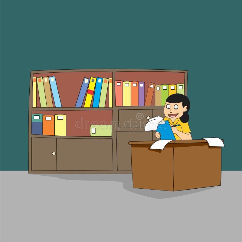 Młoda żeńska fachowa bibliotekarka lub księgowy ilustracji