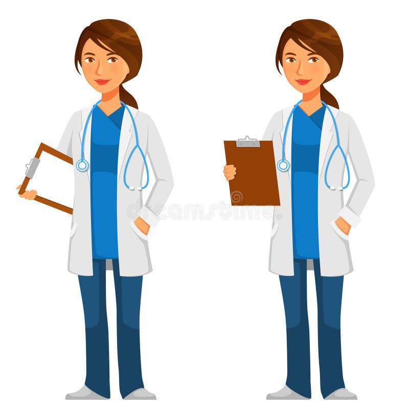 Młoda życzliwa lekarka z stetoskopem ilustracja wektor
