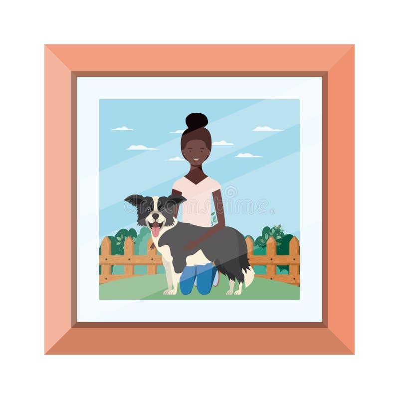 Młoda afro kobieta ze słodkim psem na zdjęciu ilustracji