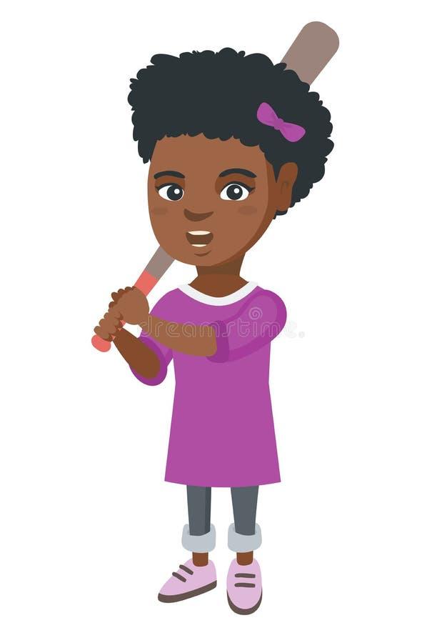 Młoda afroamerykańska dziewczyna bawić się baseballa ilustracji