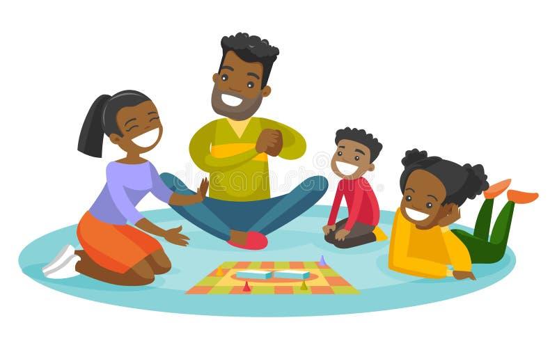 Młoda afroamerykańska rodzinna bawić się gra planszowa ilustracja wektor