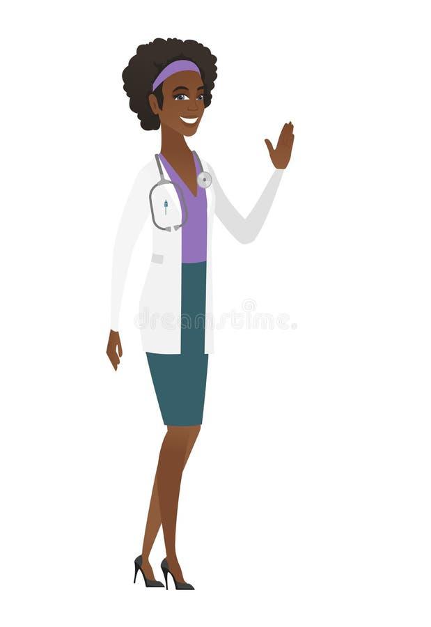 Młoda afroamerykanin lekarka macha jej rękę ilustracja wektor