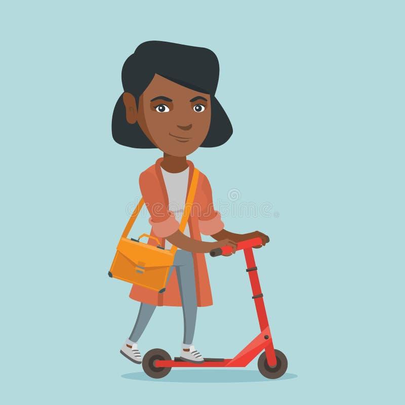 Młoda afrykańska biznesowej kobiety jazdy kopnięcia hulajnoga ilustracja wektor