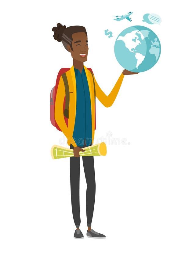 Młoda afrykańska podróżnika mienia mapa i kula ziemska royalty ilustracja