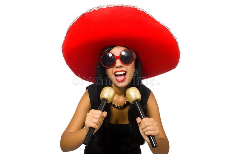 Młoda atrakcyjna kobieta jest ubranym sombrero dalej fotografia royalty free