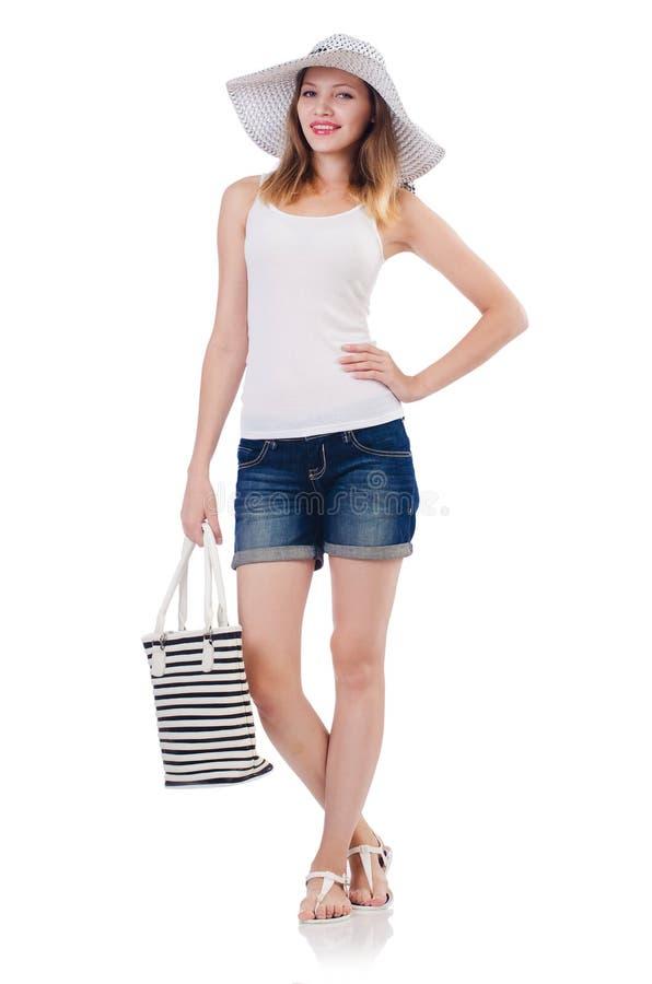 Młoda atrakcyjna kobieta w wakacje odizolowywającym obraz stock