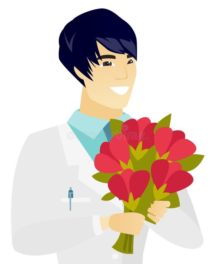 Młoda azjata lekarka trzyma bukiet kwiaty royalty ilustracja