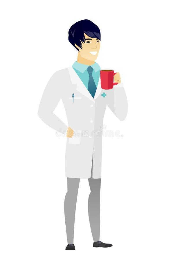 Młoda azjata lekarka trzyma filiżankę kawy ilustracji