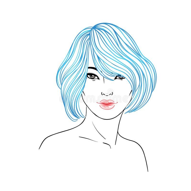 Młoda Azjatycka kobieta z długie włosy Mody wektorowa ilustracja ja royalty ilustracja
