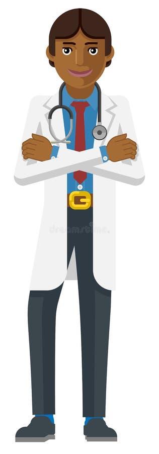 Młoda Azjatycka lekarz medycyny postać z kreskówki ilustracja wektor