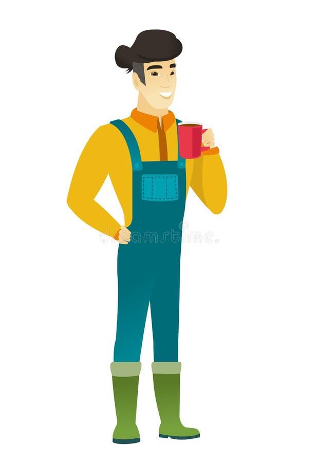 Młoda azjatykcia średniorolna trzyma filiżanka kawy ilustracja wektor
