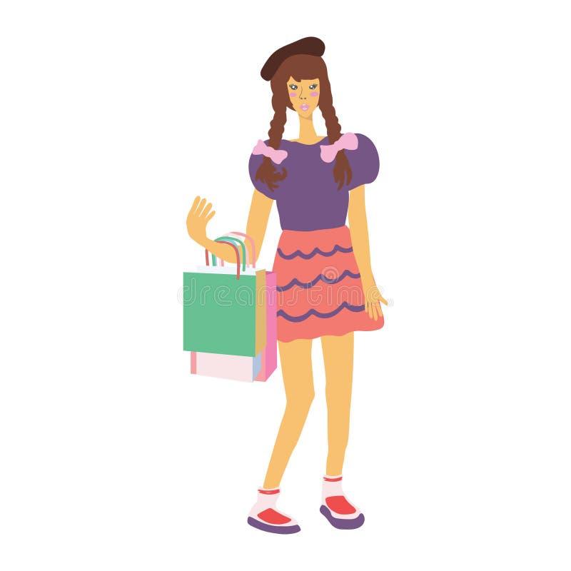 Młoda azjatykcia dziewczyna z torbami na zakupy Jaskrawi kolory Bia?y t?o ilustracji