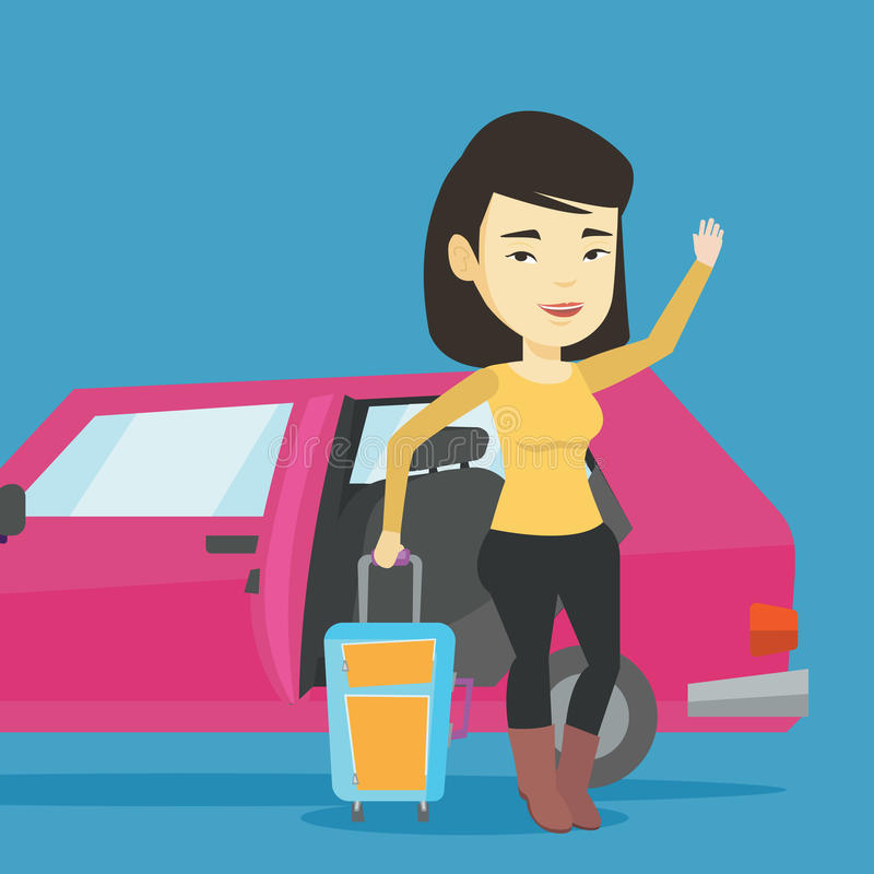 Młoda azjatykcia kobieta podróżuje samochodem ilustracji