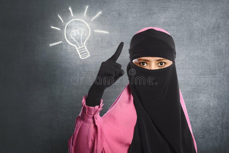Młoda azjatykcia muzułmańska kobieta jest ubranym hijab ma nowego pomysł obrazy stock