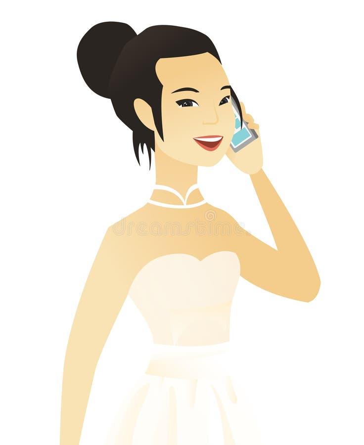 Młoda azjatykcia narzeczona opowiada na telefonie komórkowym royalty ilustracja
