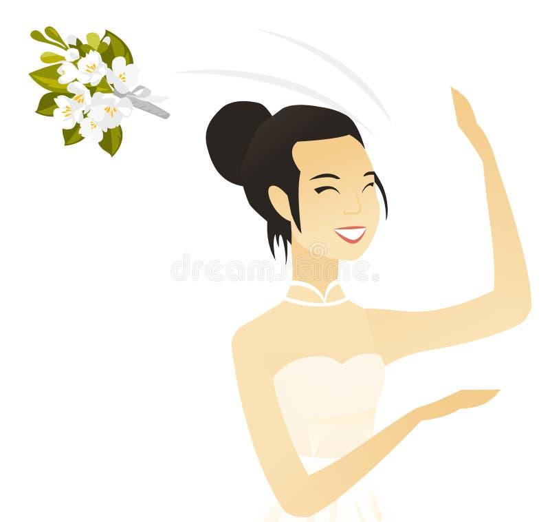 Młoda azjatykcia panna młoda podrzuca bukiet kwiaty ilustracji