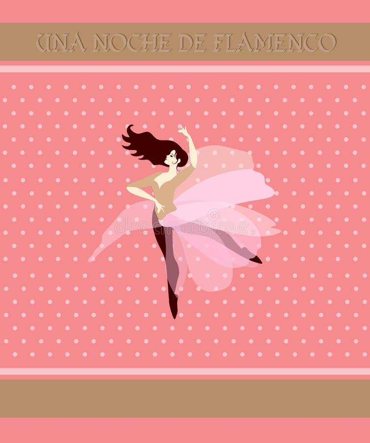 Młoda balerina ubierał w przejrzystej menchii spódnicie w kształcie kwiat, tanowie na polek kropek tle Flamenco noc ilustracja wektor