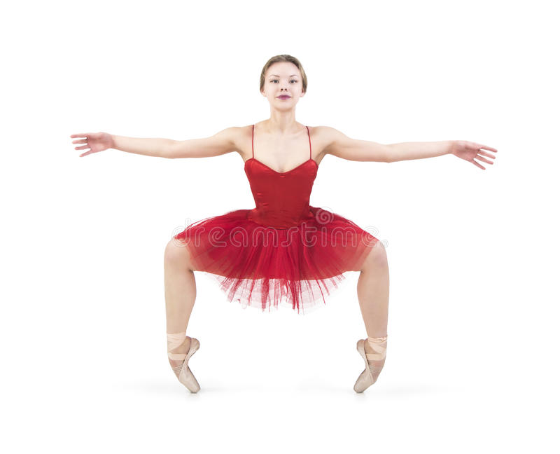 Młoda balerina w czerwonej spódniczce baletnicy zdjęcia stock