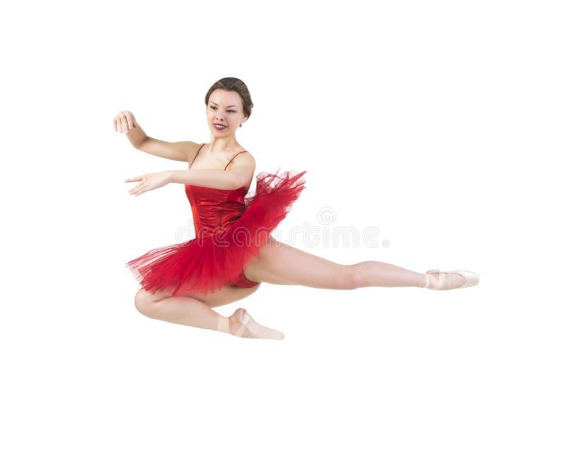Młoda balerina w czerwonej spódniczce baletnicy zdjęcie stock