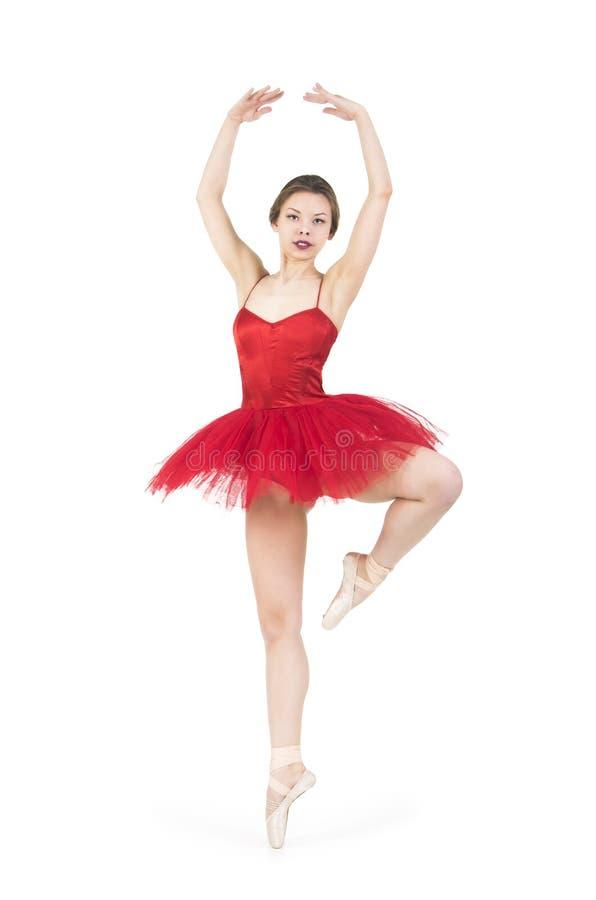Młoda balerina w czerwonej spódniczce baletnicy obrazy royalty free