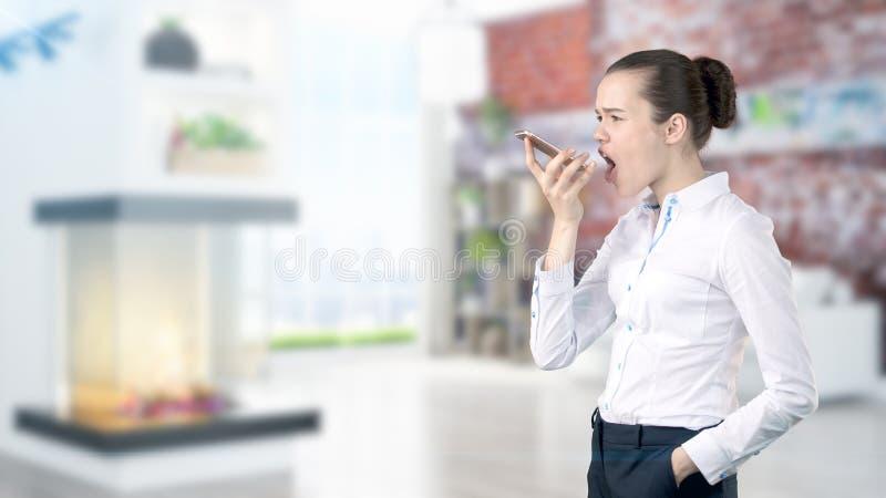 Młoda Biznesowa kobieta nad wewnętrznym tłem zdjęcie royalty free