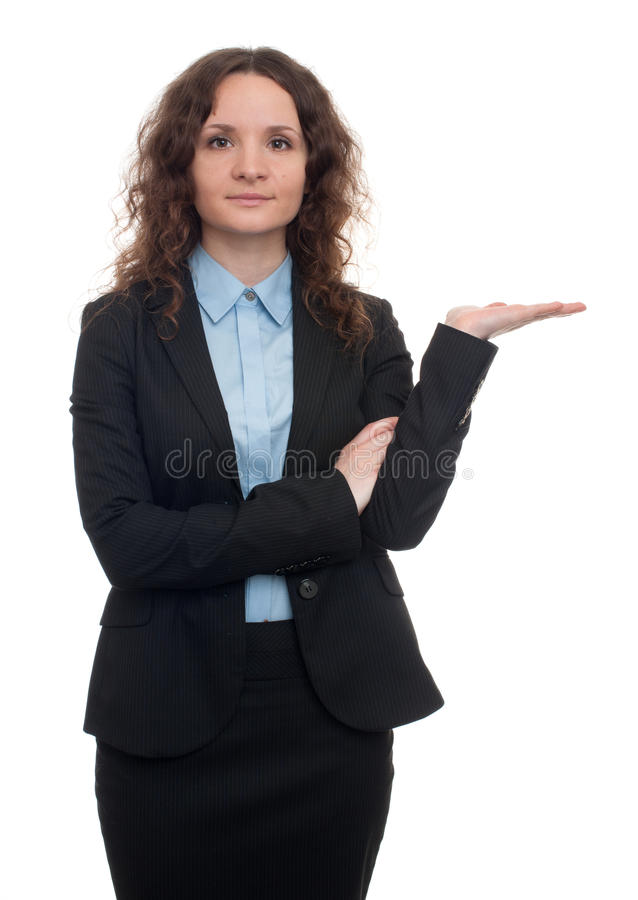 Młoda biznesowa kobieta pokazuje coś na palmie obrazy royalty free