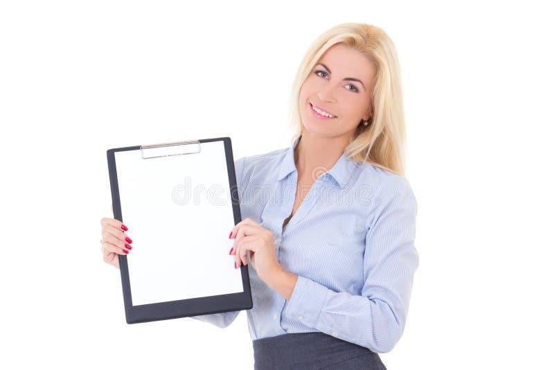 Młoda biznesowa kobieta pokazuje pustego schowek odizolowywającego na bielu obrazy stock